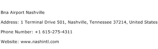 Bna Airport Nashville Address Contact Number