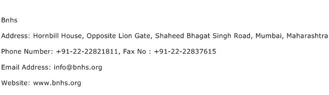 Bnhs Address Contact Number