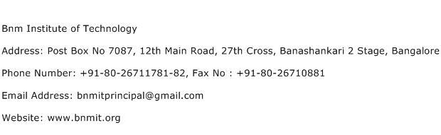 Bnm Institute of Technology Address Contact Number