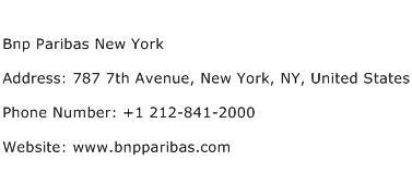 Bnp Paribas New York Address Contact Number