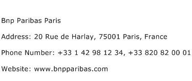 Bnp Paribas Paris Address Contact Number