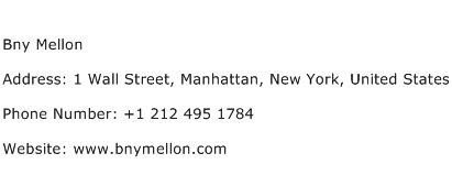 Bny Mellon Address Contact Number
