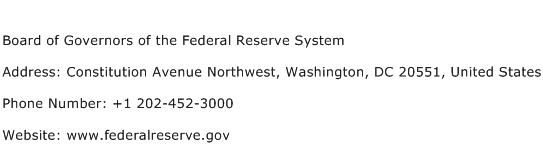Board of Governors of the Federal Reserve System Address Contact Number