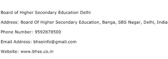 Board of Higher Secondary Education Delhi Address Contact Number