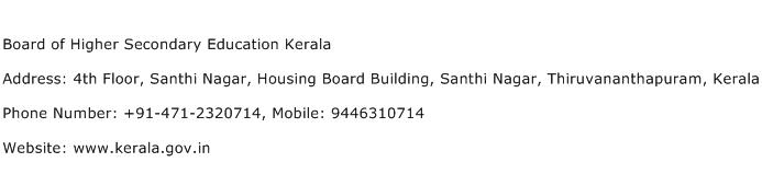 Board of Higher Secondary Education Kerala Address Contact Number