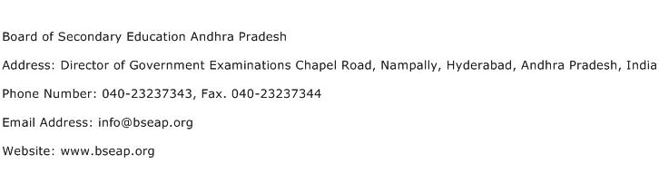 Board of Secondary Education Andhra Pradesh Address Contact Number