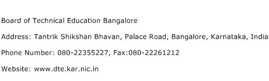 Board of Technical Education Bangalore Address Contact Number