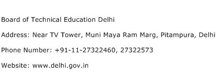 Board of Technical Education Delhi Address Contact Number