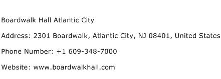 Boardwalk Hall Atlantic City Address Contact Number