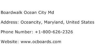 Boardwalk Ocean City Md Address Contact Number