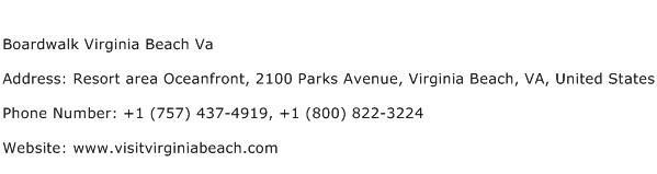 Boardwalk Virginia Beach Va Address Contact Number