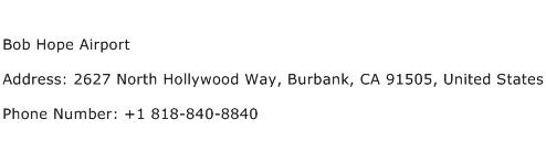 Bob Hope Airport Address Contact Number