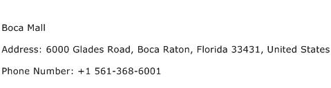 Boca Mall Address Contact Number