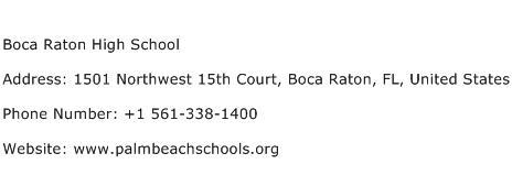 Boca Raton High School Address Contact Number
