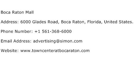 Boca Raton Mall Address Contact Number