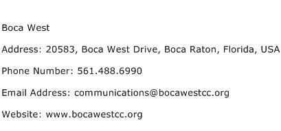 Boca West Address Contact Number