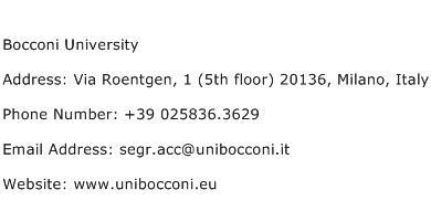 Bocconi University Address Contact Number