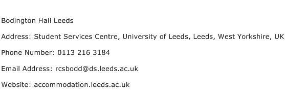 Bodington Hall Leeds Address Contact Number