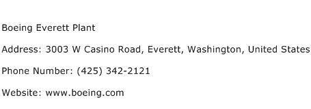 Boeing Everett Plant Address Contact Number