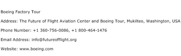 Boeing Factory Tour Address Contact Number