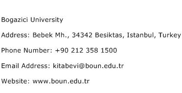Bogazici University Address Contact Number