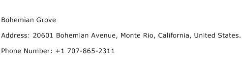 Bohemian Grove Address Contact Number
