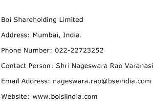 Boi Shareholding Limited Address Contact Number