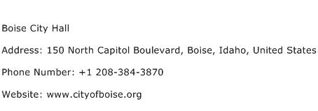 Boise City Hall Address Contact Number