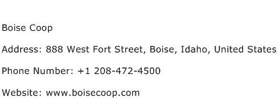 Boise Coop Address Contact Number