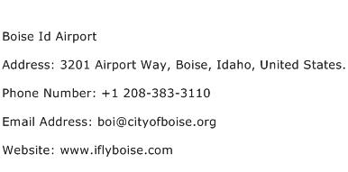 Boise Id Airport Address Contact Number