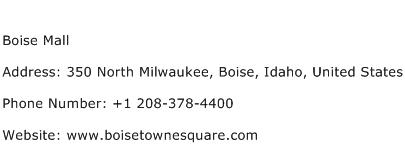 Boise Mall Address Contact Number