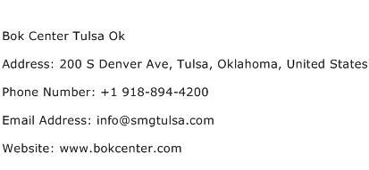 Bok Center Tulsa Ok Address Contact Number