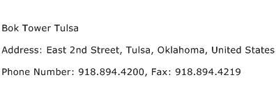 Bok Tower Tulsa Address Contact Number