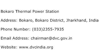 Bokaro Thermal Power Station Address Contact Number