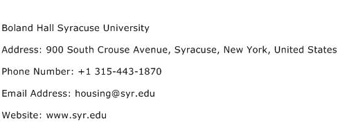 Boland Hall Syracuse University Address Contact Number