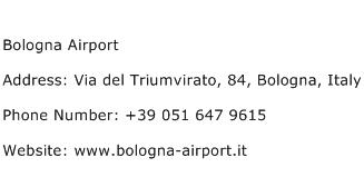 Bologna Airport Address Contact Number
