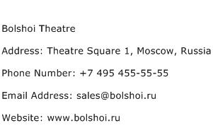 Bolshoi Theatre Address Contact Number