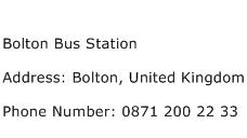 Bolton Bus Station Address Contact Number