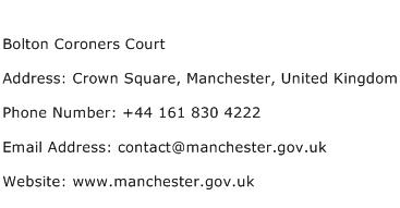 Bolton Coroners Court Address Contact Number
