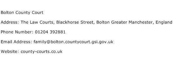 Bolton County Court Address Contact Number