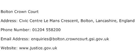 Bolton Crown Court Address Contact Number