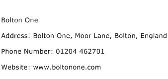 Bolton One Address Contact Number