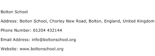 Bolton School Address Contact Number