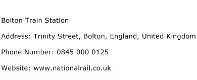 Bolton Train Station Address Contact Number