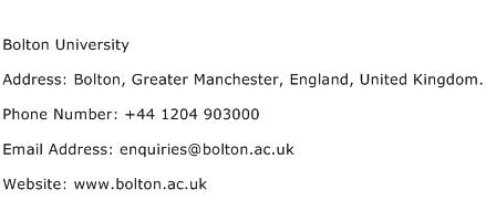 Bolton University Address Contact Number