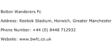 Bolton Wanderers Fc Address Contact Number