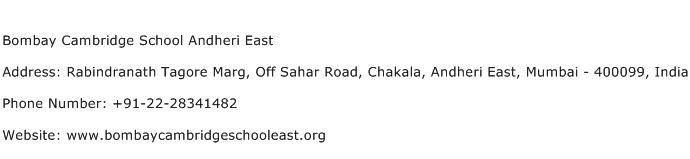 Bombay Cambridge School Andheri East Address Contact Number