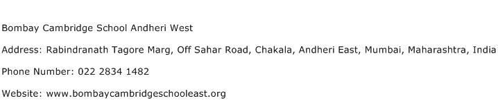 Bombay Cambridge School Andheri West Address Contact Number