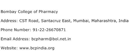 Bombay College of Pharmacy Address Contact Number