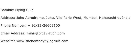 Bombay Flying Club Address Contact Number